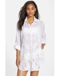 Amita Naithani - Lace Inset Cover-up Shirt - Lyst