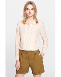 Burberry Brit Pleat Front Stripe Shirt beige - Lyst
