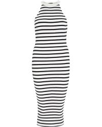 River Island Black Stripe Midi Bodycon Dress black - Lyst