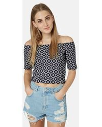 Topshop Off The Shoulder Daisy Print Top - Lyst
