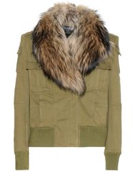 Balmain Cotton Jacket with Fur Collar - Lyst