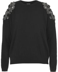 Topshop Cut-out Embellished Sweater - Lyst