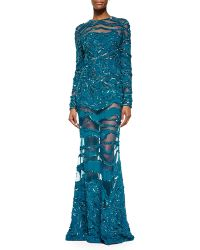 Elie Saab Beaded Sheer-Inset Lace Gown - Lyst