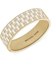 Michael Kors Goldtone Monogram Hinge Bangle Bracelet - Lyst