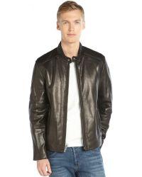 Marc New York Black Leather Zip Front Filled 'Sam' Jacket - Lyst