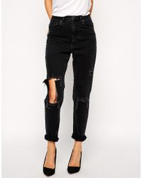 Asos Farleigh High Waist Slim Mom Jeans In Washed Black With Madness Rips - Lyst