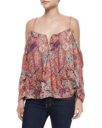 Nicole Miller Artelier - Multipattern Cold-shoulder Top - Lyst