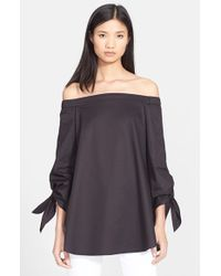 Tibi Women'S Off The Shoulder Cotton Poplin Tunic - Lyst