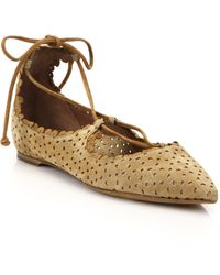 Tabitha Simmons | Perforated Suede Lace-up Flats | Lyst