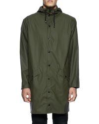 Rains Green Hooded Waterproof Jacket - Lyst