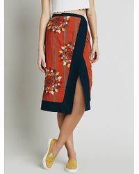 Free People Womens Songbird Wrap Skirt orange - Lyst