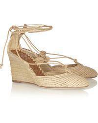Bottega Veneta Laceup Raffia Wedge Pumps - Lyst