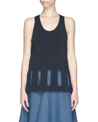 Stella McCartney 'Open Shapes' Embroidered Eyelet Flare Top blue - Lyst