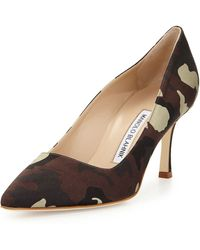 Manolo Blahnik Bb Satin 70mm Pump Camo Made To Order - Lyst