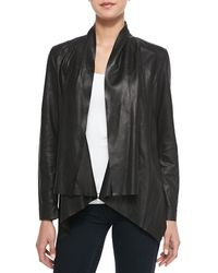 Cusp Drape-front Leather Jacket - Lyst