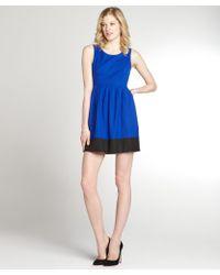 Aryn K. Royal Blue And Black Stretch Colorblock Sleeveless Dress - Lyst