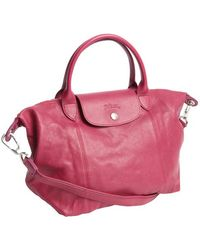 Longchamp Fuchsia Leather Top Handle Foldaway Tote Bag - Lyst