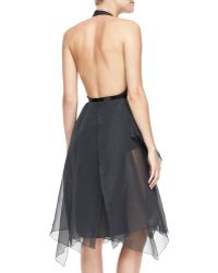 Donna Karan New York Belted Halter Cocktail Dress - Lyst