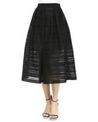 Tibi Ribbon Organza Pleated Midi Skirt - Lyst