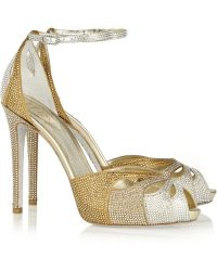 Rene Caovilla Swarovski Crystal-Embellished Satin And Leather Sandals - Lyst