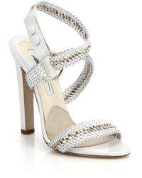 Brian Atwood Olive Chain-Trimmed Braided Leather Sandals - Lyst