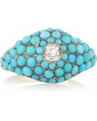 Olivia Collings - 18karat Gold Turquoise and Diamond Ring - Lyst