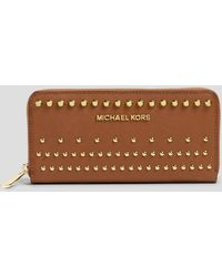Michael by Michael Kors Wallet Studded Zip Around Continental - Lyst