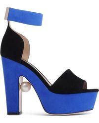 Nicholas Kirkwood | Suede Geometric Pearl Sandals | Lyst