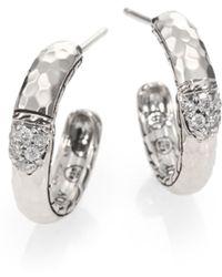 John Hardy Pave Diamond Sterling Silver Hammered Hoop Earrings1 - Lyst