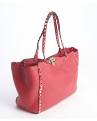 Valentino Cyclamen Pink Leather Rockstud Medium Tote Bag - Lyst
