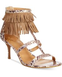 Report Signature Noemie T-Strap Fringe Sandals brown - Lyst