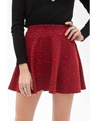 Forever 21 Rose Pattern Skater Skirt - Lyst