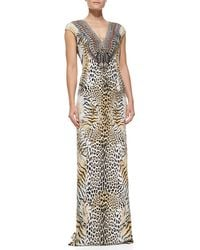 Camilla Silk Animalprint Long Coverup Dress - Lyst