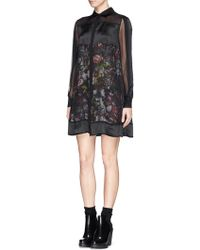 McQ by Alexander McQueen 'Festival Floral' Shirred Chiffon Shirt Dress - Lyst