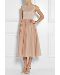 RED Valentino Point Desprit and Satin Midi Dress - Lyst