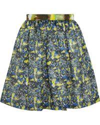 MSGM Printed Mesh Mini Skirt - Lyst