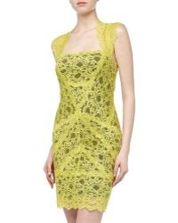 Nicole Miller Illusion Lace Stretch-knit Dress Chartreuse Small - Lyst