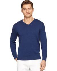 Calvin Klein Blue Silk-Blend Pullover - Lyst