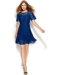 Michael Kors Michael Plus Size Short-Sleeve Lace Drop-Waist Dress - Lyst