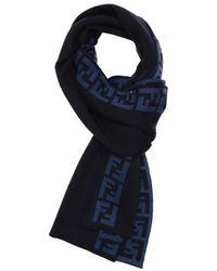 Fendi Blue and Iron Wool Knit Reversible Zucca Pattern Scarf - Lyst