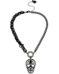 Betsey Johnson Black-Tone Filigree Skull And Crystal Pendant Necklace - Lyst