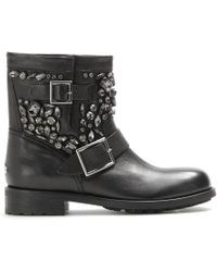Jimmy Choo Youth Embellished Leather Biker Boots - Lyst
