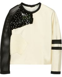 Fendi Embellished Techsatin and Mesh Top - Lyst