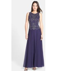 J Kara Beaded Mock Two-Piece Gown - Lyst