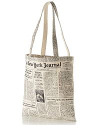 Kate Spade Newspaper Print Canvas Shopping Tote - Lyst