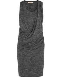 Burberry Brit - Draped Mélange Jersey Dress - Lyst