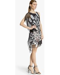 Halston Asymmetric Printed Chiffon Dress - Lyst