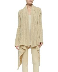 Donna Karan New York Ribbed Drape-front Cozy Coat - Lyst