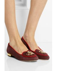 Charlotte Olympia Year Of The Monkey Suede Slippers - Lyst