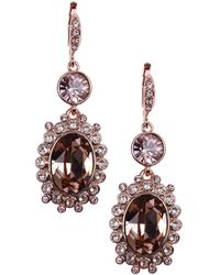 Givenchy Rose Gold Tone and Crystal Double Drop Earrings - Lyst